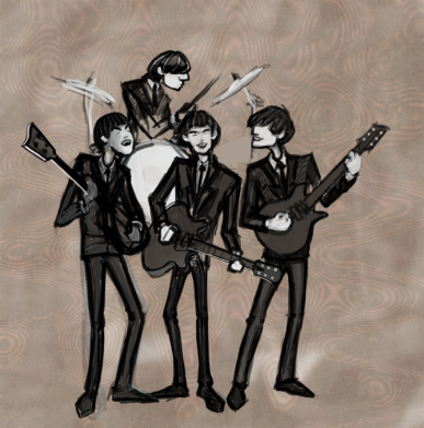 Drawing of The Beatles by Sean Gallo