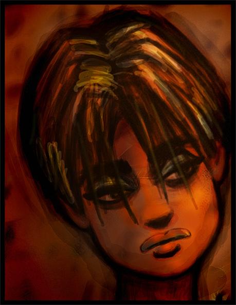 beautiful girl drawing emo