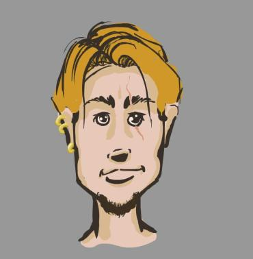 cartoon vector drawing character design blonde guy with scar and earrings