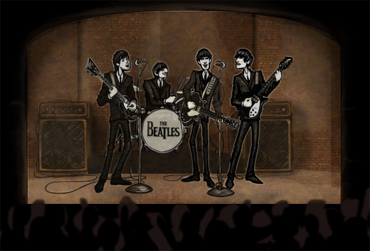 cartoon drawing of the young beatles playing the cavern club in hamburg