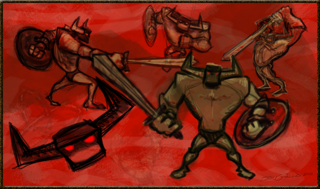drawings of barbarian with sword and shield