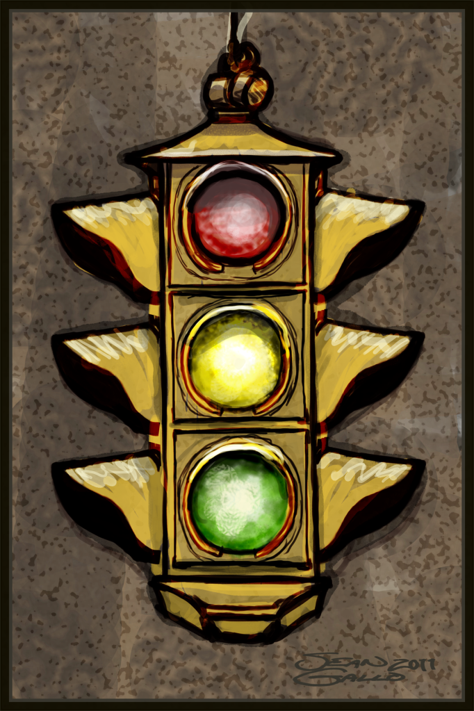 Drawing of a traffic signal aka stoplight