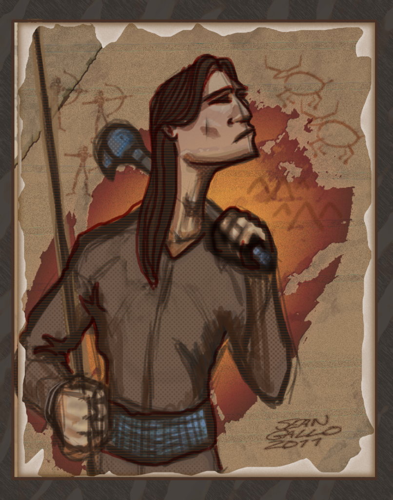 drawing of native american with spear and club