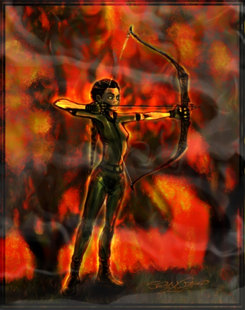 Hunger Games drawing Katniss Girl on Fire bow hunter