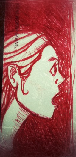 female girl face shocked surprised ballpoint red pen doodle